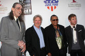 Peter Mayhew, Harrison Ford, Billy Dee Williams & Ewan McGregor — Stock Photo