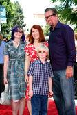 Kate Flannery & Chris Haston & His kids — Stock Photo