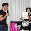 Daniel Goddard with Singing Telegram Actress — Stock Photo #13103523