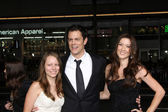 Johnny Knoxville with daughter Madis, wife Naomi Nelson — Stock Photo