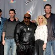 Carson Daly, Adam Levine, CeeLo Green, Christina Aguilera, Blake Shelton — Stock Photo