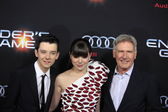 Asa Butterfield, Hailee Steinfeld, Harrison Ford — Stock Photo