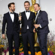 Jason Sudeikis and filmakers Anders Walter and Kim Magnusson, winners of Best Short Film, Live Action — Stock Photo