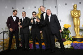 Chris Hemsworth, sound editors Skip Lievsay, Niv Adiri, Christopher Benstead, and Chris Munro, winners of Best Achievement in Sound Mixing — Stock Photo