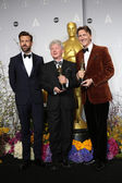 Jason Sudeikis and Filmmakers Malcolm Clarke and Nicholas Reed, winners of Best Documentary, Short Subject — Stock Photo
