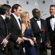Producers Anthony Katagas, Jeremy Kleiner, Dede Gardner, director Steve McQueen, Brad Pitt - winners of Best Picture for '12 Years a Slave' — Stock Photo #42113573