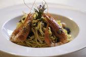 Pasta with prawns — Stock Photo