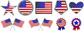 Set of American flag icons — Stock Vector