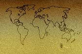Dünya Haritası ile kum plaj — Stok fotoğraf