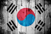 South Korea flag overlaid with grunge texture — Stock Photo