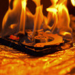 Computer hard disk on fire - Stock Photo