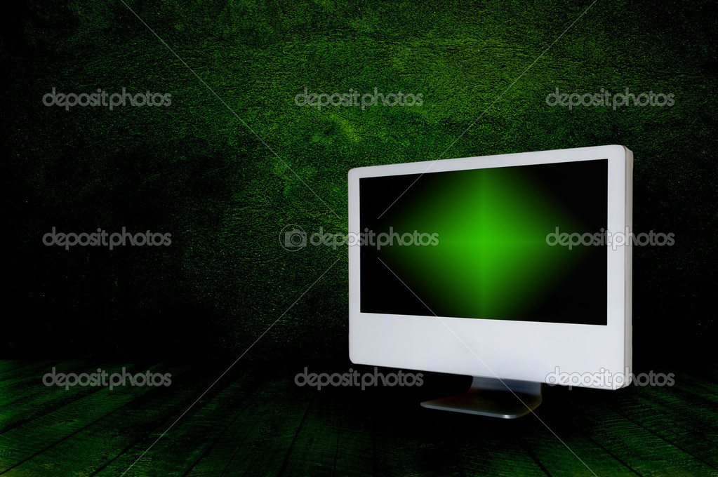 TV screen on empty interior background  Stock Photo #13819927