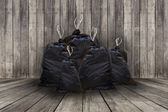 Pile of full black garbage bags — Foto Stock