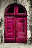 Old wood red door — Stock Photo