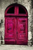 Old wood red door — Foto de Stock