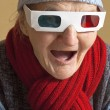 Elderly woman with 3d glasses — Stock Photo