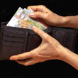 Stock Photo: Black wallet with money