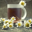 Cup of tea and chamomile flowers - Stock Photo