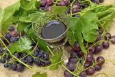 Czerwone wino w kieliszek do wina z winogronami. — Zdjęcie stockowe