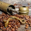 Coffee beans with coffee grinder — Foto Stock