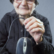 Elderly woman holding up a computer mouse — Stock Photo #41109125