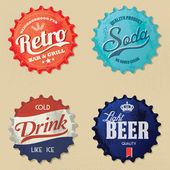 Retro bottle cap Design - Vintage bottle caps — Stock Vector