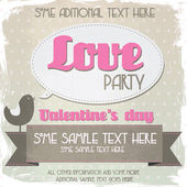 Vintage valentines day party flyer — Stock Vector
