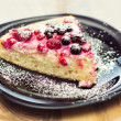 Hommade cottage-cheese tart with forest fruit — Stock Photo