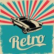 Vintage car design flyer - Grungy style vector design — 图库矢量图片