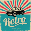Vintage car design flyer - Grungy style vector design - Imagen vectorial