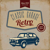 Vintage car design flyer - Grungy style vector design — Stock Vector