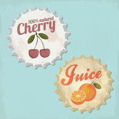 Vintage bottle cap design - Orange and Cherry Juice — Stock Vector