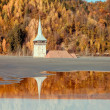 Old flooded church in a mud lake - Natural disaster — Stock Photo