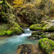 Autumnal creek with beautiful mossy stones and blue water — Stock Photo