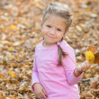 Little cute girl playing in autumn park with colorful leafs — Stock Photo