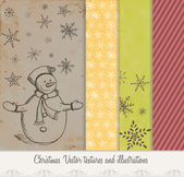 Vintage grungy christmas background collection — Stock Vector