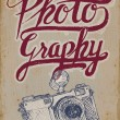 Vintage camera poster with hand-drawn elements and grungy background — Stock Vector