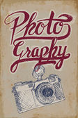 Vintage camera poster with hand-drawn elements and grungy background — Stok Vektör