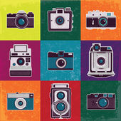 Colorful collection of retro camera set. — Stock Vector