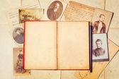 Background with vintage photo, postal card, and empty open book — Stock Photo