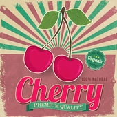 Colorful vintage Cherry label poster vector illustration — Stock Vector