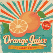 Colorful vintage Orange Juice label poster vector illustration — Stock Vector