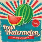 Colorful vintage Watermelon label poster vector illustration — Stock Vector