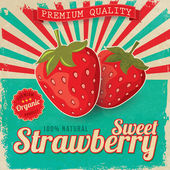 Colorful vintage Strawberry label poster vector illustration — Stock Vector