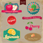 Vintage fruit labels. Vintage tags illustration collection. — Stock Vector