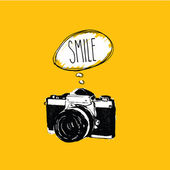 Vintage photo camera says 'SMILE' vector design — Stock Vector