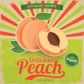 Colorful vintage Peach label poster vector illustration — Stock Vector