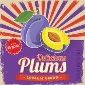 Colorful vintage Plums label poster vector illustration — Stock Vector