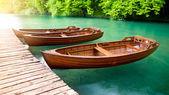 Dřevěné lodě, Plitvická jezera v Chorvatsku — Stock fotografie