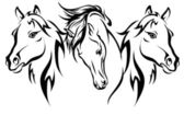 Three horses in 2014 — Stock Vector